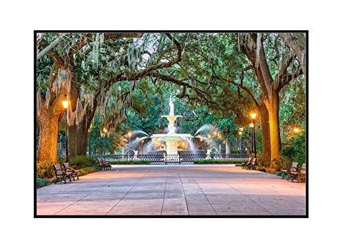 Savannah, Georgia - Forsyth Park Fountain - Photography A-94825 (24x16 Framed Gallery Wrapped Stretched Canvas)
