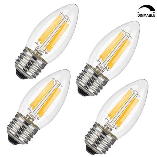 YUSHI LED Chandelier Filament Bulb,E26-Dimmable-6Watt 60W...