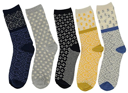 Active Women's Cotton Blend Crew Socks (5pr), One Size 9-11 (Yellow, Navy (Crazy Pink Ladybug)