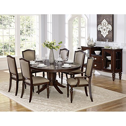 Montello 5 Piece 54-72 inch Round to Oval Dining Set in Dark Cherry - Table, 4 Side Chairs