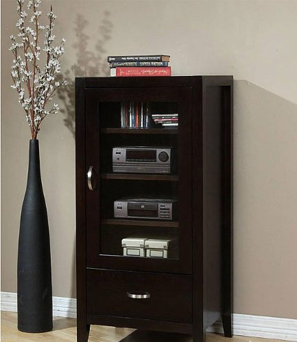 Captivating Ikcco Audio Cabinet, Store And Protect Your Stereo In This Axium Espresso Audio  Cabinet. Three Adjustable Shelves Behind An Elegant Glass Door Offer Room  ...