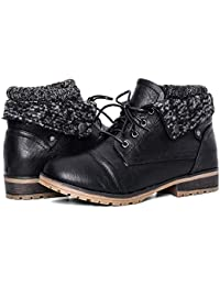 Women's Combat Style Lace-up Ankle Booties with Fur