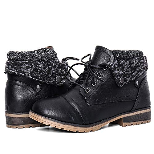 Moda Chics Women's Combat Style Lace-up Ankle Bootie with Fur Black 7.5 B(M) ()