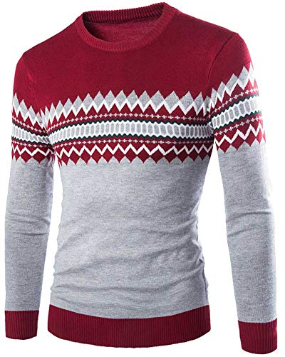 Classique Sweater Pull Longue Anyua Rouge Jacquard Manche Rond Homme Col Knitwear TUpnqR