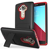 LG G4 Case - VENA Legacy [Dual Layer Protection |Shock Absorption] Heavy Duty Cover with Kickstand [+1 HD Clear Screen Protector] for LG G4 2015 (Compatible With Leather LG G4) (Black & Red)