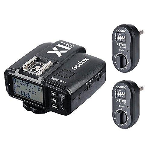 Godox 2 x XTR-16 Wireless 2.4G Power Control Flash Receivers + X1T-N TTL Wireless Transmitter for Nikon AD180 AD360