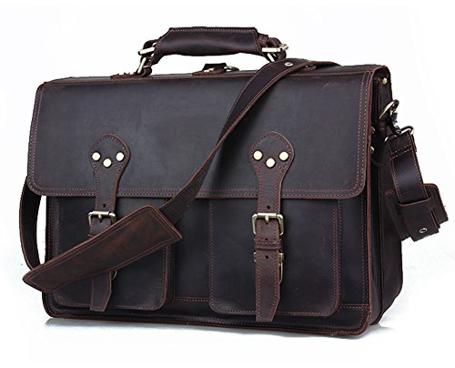 Polare 16'' Full Grain Leather Briefcase Messenger Bag Laptop Satchel For Men (Cowhide Top Grain Briefcase)