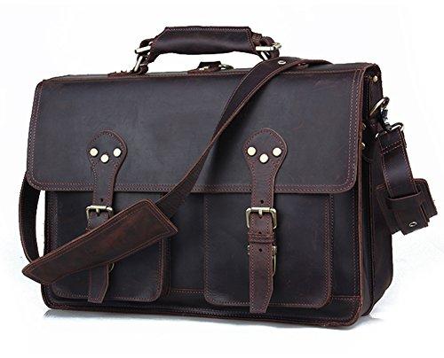 Grain Leather Briefcases (Polare 16'' Full Grain Leather Briefcase Messenger Bag Laptop Satchel For Men)