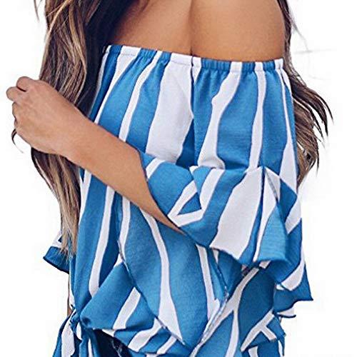 et Rayures Longues pour Bleu Femmes dnudes Manches paules Chemise 16Spnp