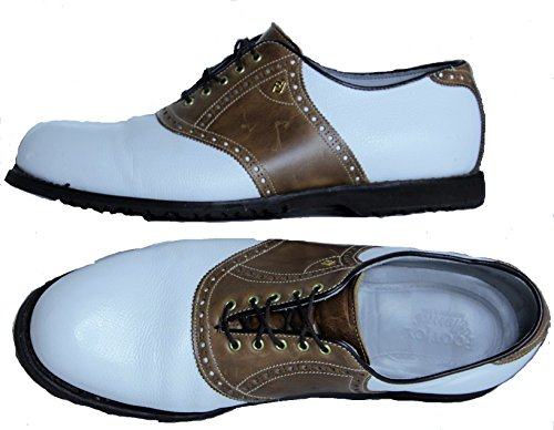 Footjoy White Saddle (Footjoy Classics Men's Spikeless Sole All Leather Saddle Golf Shoes White/Brown 13E USA Handcrafted)