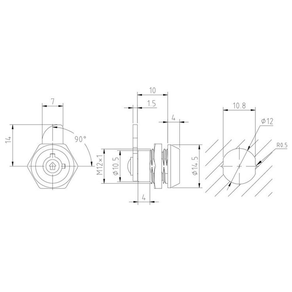 Delleu Caja de la Puerta del caj/ón del gabinete de 10mm Cuarto Vuelta Cerradura de la Leva con 2 Llaves
