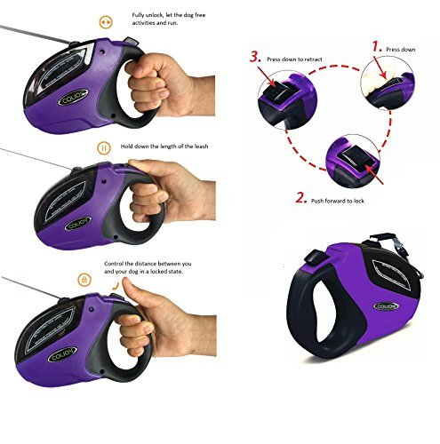 COLJOY Retractable Dog Leashes, Heavy Duty Nylon No Tangle Pet Leash Dog Lead 16ft for Small Medium Large Dogs up to 110lbs with One Button Break & Lock and Easy Instant Retraction, 1pc Purple by COLJOY (Image #2)