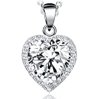 """NEEMODA """"Shining Love Hand-Inlaid 5A Cubic Zirconia Heart Necklace with Luxury Gift Box, 18 inches + 2 inches Triple White Gold Plated Chain"""