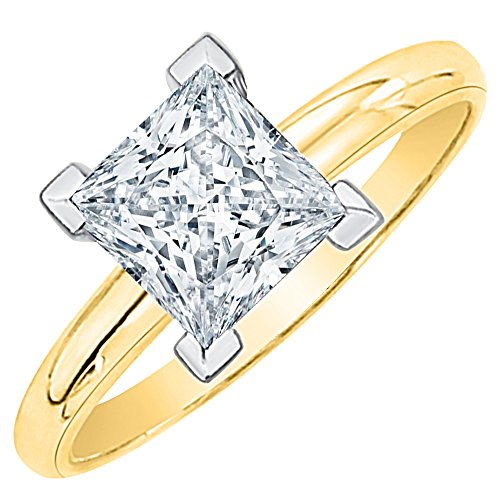 - 3 ct. L - VVS2 Princess Cut Diamond Solitaire Engagement Ring in 14k Yellow Gold (Size-4.75)