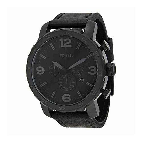 Fossil Men's JR1354 Nate Stainless Steel Chronograph Watch with Black Leather - Fossil Leather Band Watch