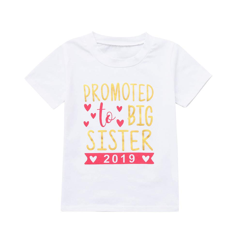 LSAltd Infant Toddler Baby Girls Clothes Promoted to Big Sister Letter Print T-Shirts Newborn Blouse Tops