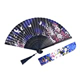 Luck With Bamboo Portable Handheld Folding Fans for Women & Ladies, Bamboo Vintage Folding Fan with Handle, Best Gift with a Fabric Sleeve (Dark Blue)