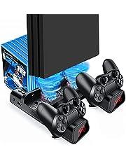 Likorlove PS4 Slim Pro Controller Oplader Verticale Stand Koeler, Multifunctionele Koelhouder Oplaadstation met LED-indicatoren 10PCS Games Opslag Dock Compatibel voor Playstation 4