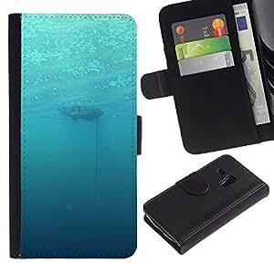 LECELL--Cuero de la tarjeta la carpeta del tirón Smartphone Slots Protección Holder For Samsung Galaxy S3 MINI 8190 -- Profundo Submarino Océano --