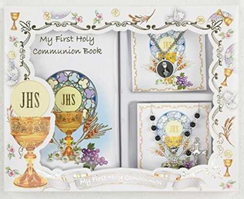 Boys My First Holy Communion Gift Set with Prayer Book, Rosary, and Chalice Pendant