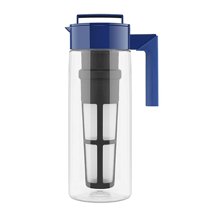 Takeya Iced Tea Maker with Patented Flash Chill Technology Made in USA, 2 Quart, Blueberry