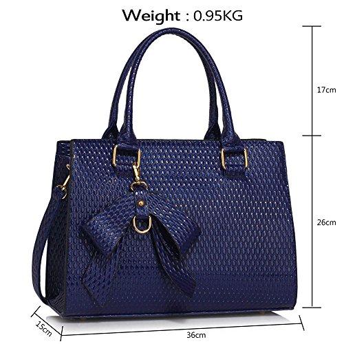 Bolso para mujer de piel sintética, diseño rígido, con correa para el hombro, color azul, talla L A - Navy