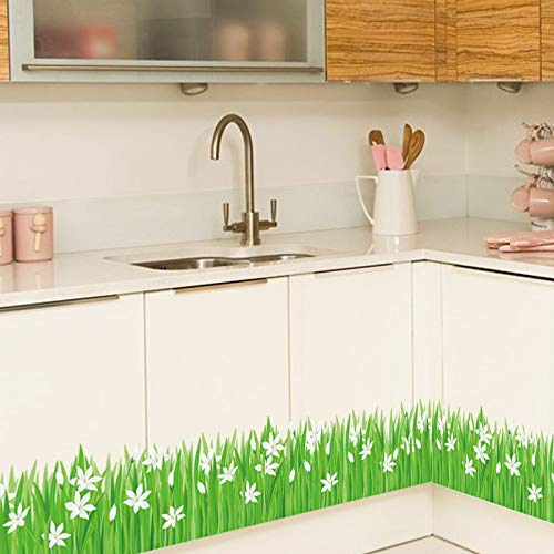 Wall Decals for Living Room - Green Grass Butterfly Flower Skirting Wall Stickers Living Room Bedroom Bathroom Baseboard Vinyl Decals Art Home Decoration