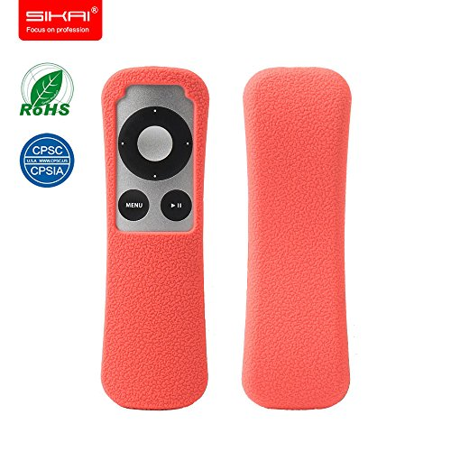 SIKAI New Patent Apple TV 3Gen Remote case Non-Slip-Grip & Secure for Apple TV 3Gen Remote Ergonomic design Dustproof Silicone case for Apple TV remote control case Old Apple TV FBA case (Red)