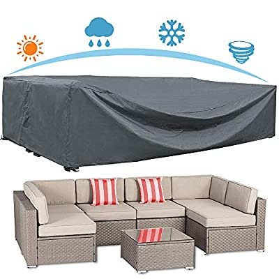 """AKEfit Patio Furniture Cover Outdoor sectional Furniture Covers Waterproof Dust Proof Furniture Lounge Porch Sofa Protectors D126""""x W64""""x H29"""""""