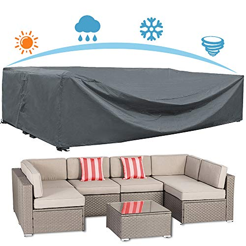 AKEfit Patio Furniture Cover Outdoor sectional Furniture Covers Waterproof Dust Proof Furniture Lounge Porch Sofa Protectors D126