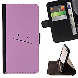 Momo Phone Case / Flip Funda de Cuero Case Cover - Sad Pink Face - Samsung Galaxy S5 Mini, SM-G800