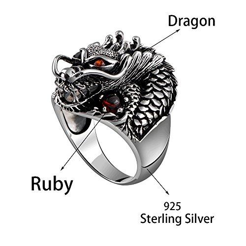 MetJakt Vintage 925 Sterling Silver Domineering Dragon Ring with Ruby Punk Rock Rings for Men's Fine Jewelry (8) by MetJakt (Image #1)