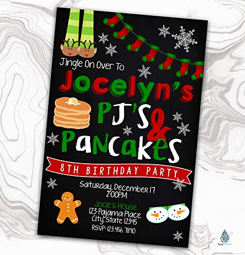 Christmas Pajama Party Invitation - Xmas PJ's and Pancakes Sleepover Birthday Invite - Slumber - 4x6]()