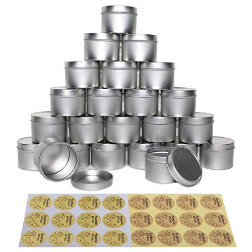 CozYours 4oz metalen blikken met deksels 24 stuks + handgemaakt met liefdesstickers 24 stuks; Kaarsblikken…