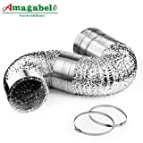 6in Aluminum Foil Duct Hose Flex Grow Tent Room Ventilation Cooling System 25ft Air Intake Helix Pipe Exhaust Inline Fan Filter CFM Flexible Clothe Dryer Vent Hose with 2 Tension Clamps HVAC Heat Duct