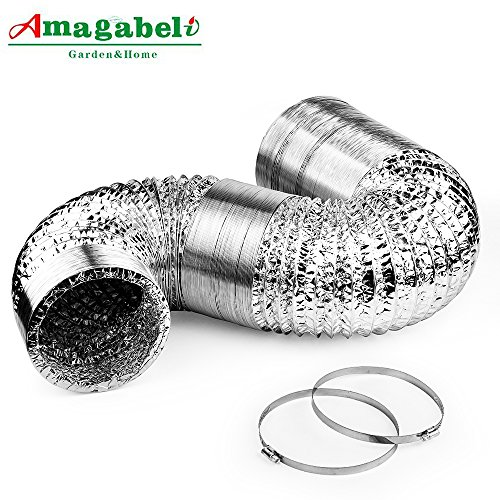4in Aluminum Foil Duct Hose Grow Tent Room Ventilation Cooling System 8ft Flex Air Intake Helix Pipe Exhaust Inline Fan Filter CFM Flexible Clothes Dryer Vent with 2 Tension Hose (Flex Pipe Systems)