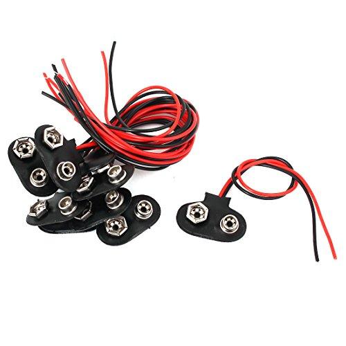 sourcingmap® 10pcs 15cm Wire Black Faux Leather 9V Block Battery Clips Buckles DIY Connectors