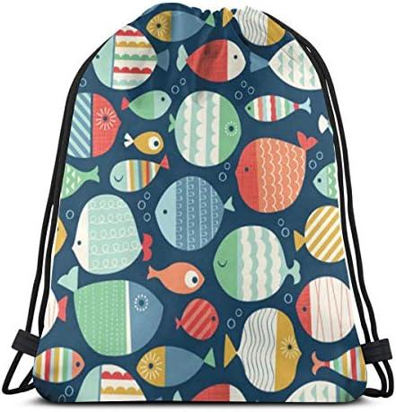 大規模なグループの魚Sealife防水巾着バッグジムバッグスポーツバックパックメンズレディースガールズ36 x 43cm