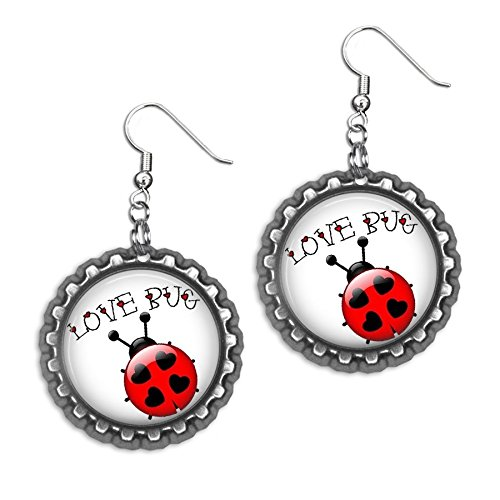(Love Bug Valentine's Day Bottlecap Earrings)