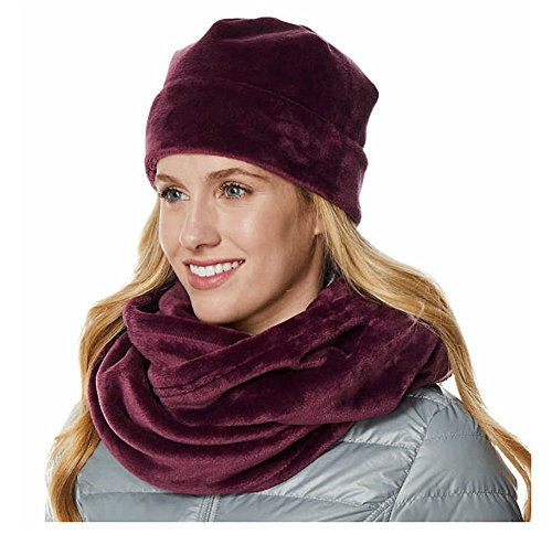 Ladies' Ultra Soft Faux Fur Infinity Scarf and Hat, Purple, One Size