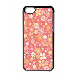 Hand Drawn Pink Flower Pattern iphone 6 4.7 Case, Funny Case iphone 6 4.7 Case for Boys Pharrel {Black}