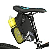 WOTOW Bike Seat Saddle Bag, Roomy Strap-on Bicycle Seat Bag Pack with Extra Net Pouch Reflective Stripe and Taillight Hook for Outdoor Cycling (Black)