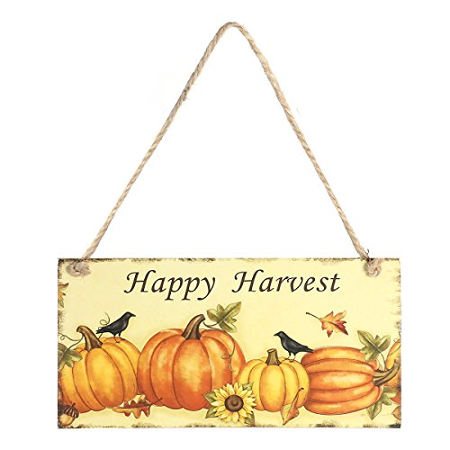 LUOEM Thanksgiving Decorations Hanging Plaque Sign Door Decor for Thanksgiving Halloween Easter Wooden (Happy (Happy Thanksgiving Sign)