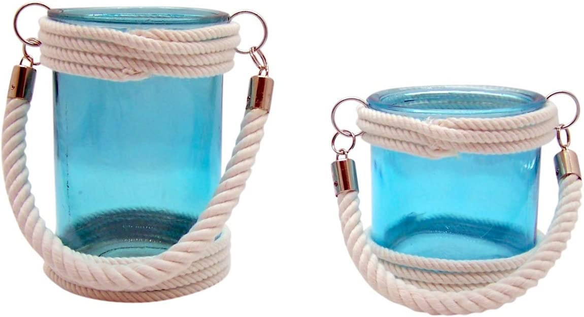 Aqua Blue Glass Hurricane Candle Holder Lantern with White Rope Accents, Set of 2