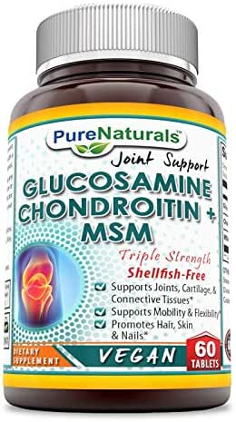 Pure Naturals Glucosamine (Vegan), Chondroitin & MSM - Shellfish-Free, Triple Strength Tablets -Supports Joints, Cartilage & Connective Tissues* -Supports Mobility & Flexibility* (60 Count)
