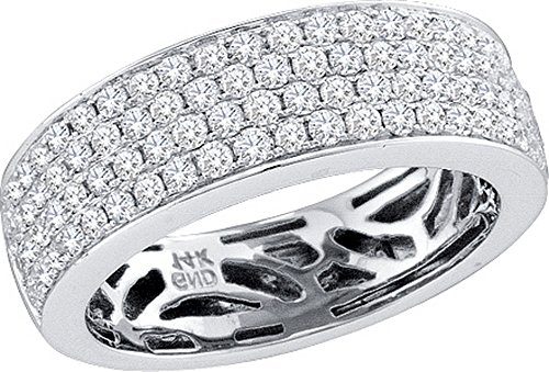 14kt White Gold Womens Round Pave-set Diamond Comfort Wedding Band 1.00 Cttw by JawaFashion