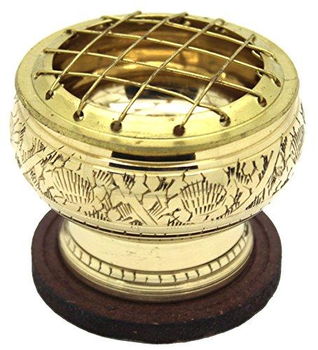 Govinda® - Small Carved Brass Charcoal Screen Incense Burner ()