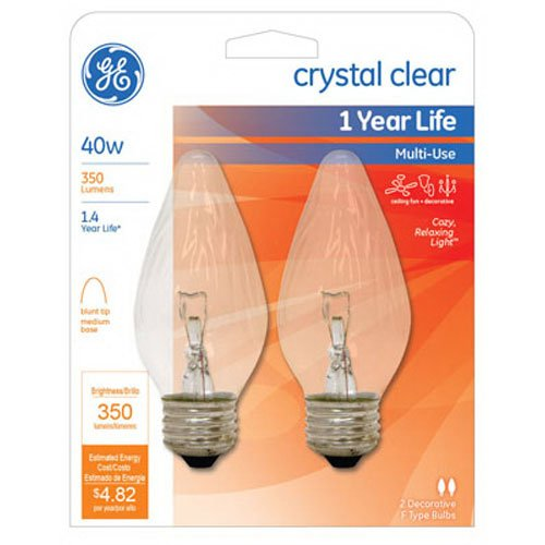 - G E LIGHTING 75341 Flame Shaped Bulb, 40W, Clear, 2-Pack