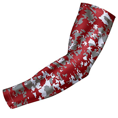 Sports Compression Arm Sleeve - Youth & Adult Sizes - Baseball Football Basketball by Bucwild Sports (1 Arm Sleeve - Maroon Camo - Youth Medium) ()