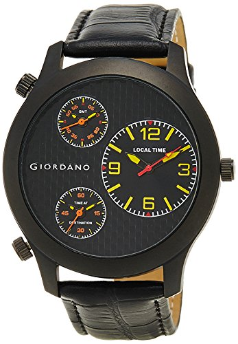 Giordano Chronograph Multi-Colored Dial Men's Watch – 60068 Black/Yellow